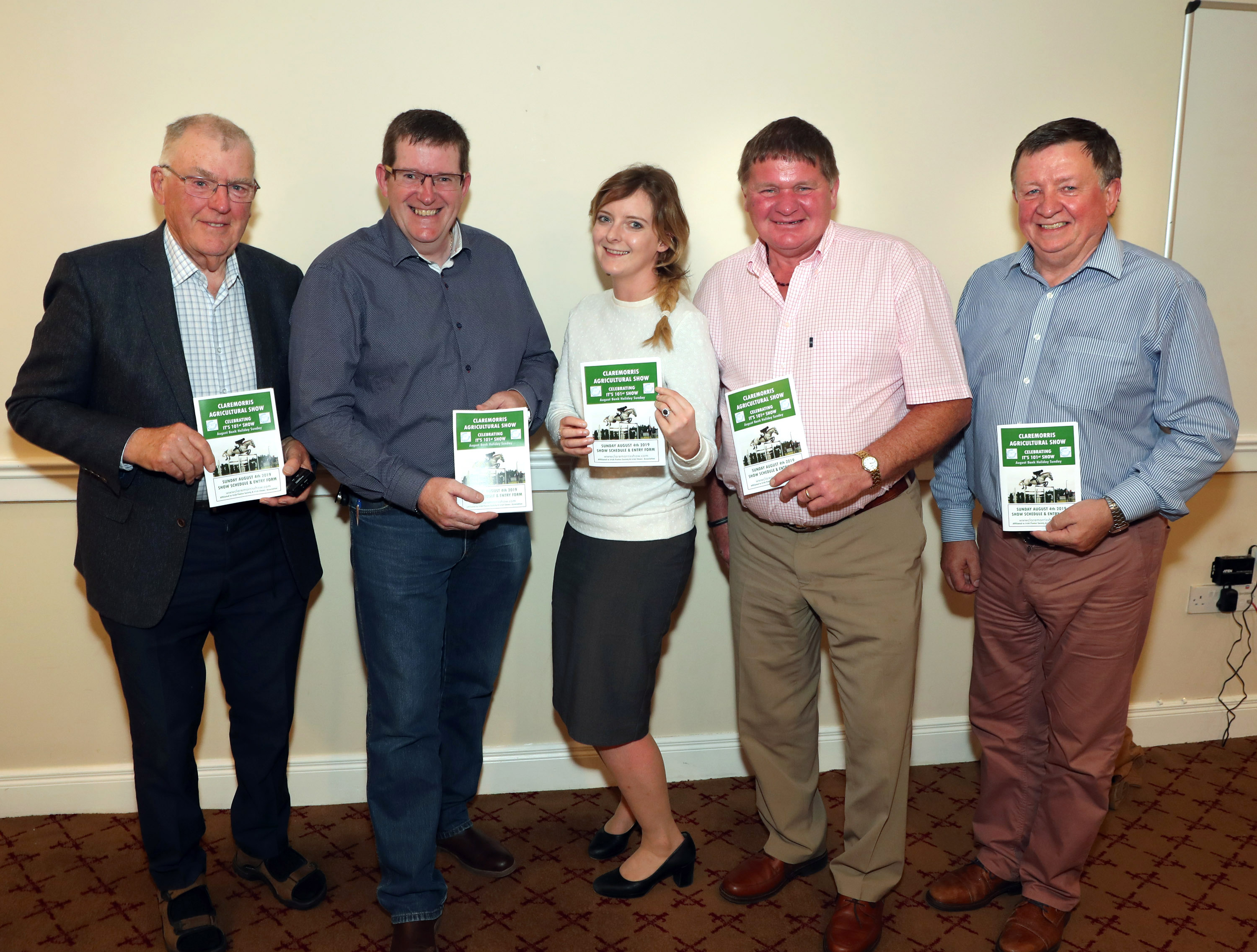 Roderick Maguire pictured with Tom Byrne, Chairman Claremorris Agri Show 2019 at the press night in the McWilliam Park Hotel, included are Avril Flannery, Pat Prendergast and James Preston. Photo © Michael Donnelly