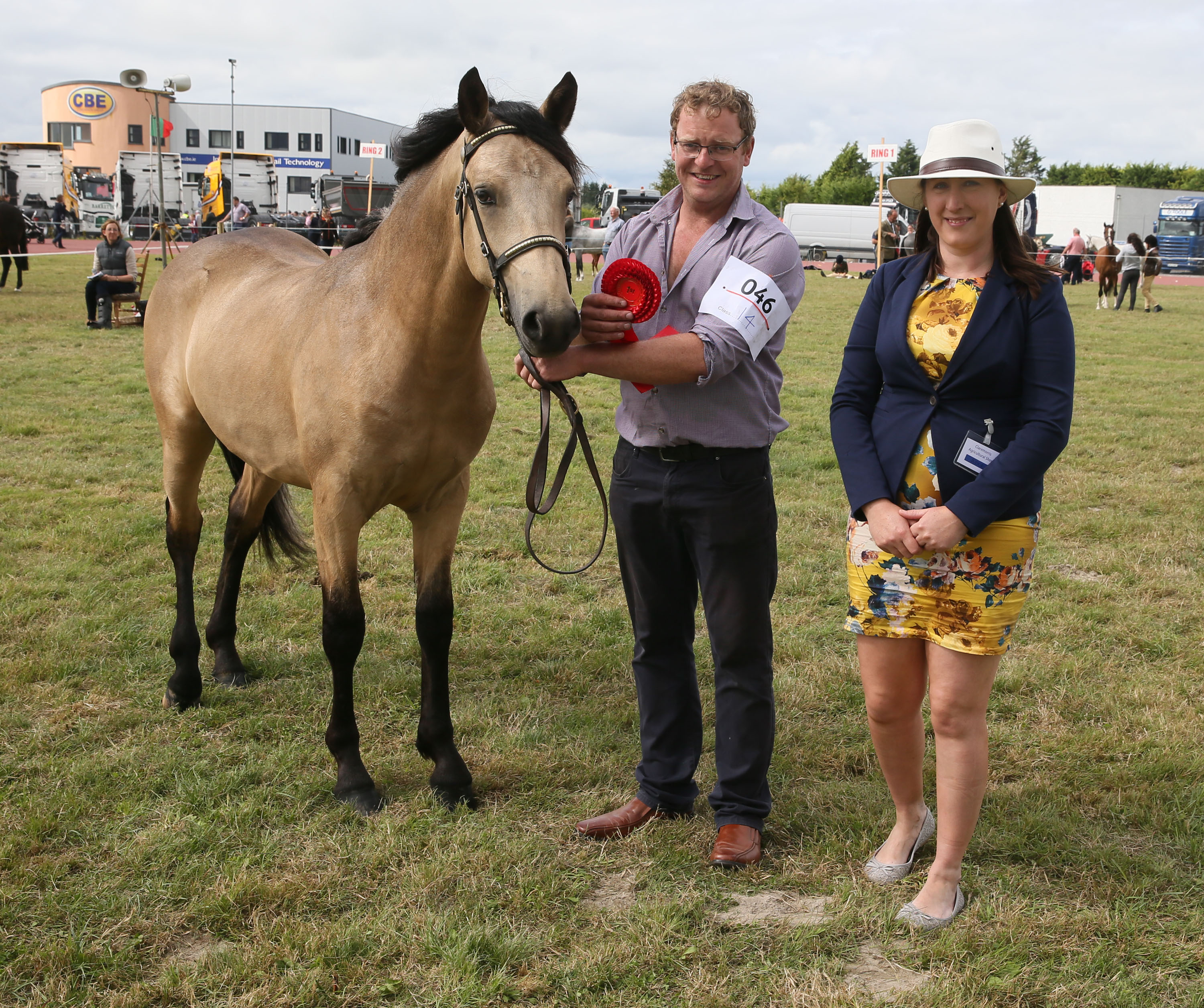 Damien Gill Clontuskert Co Roscommon with winner in class 14 Yearling Colt or Gelding pictured with Sarah Conway (Judge) at Claremorris 100th Agricultural Show 2018. Photo © Michael Donnelly