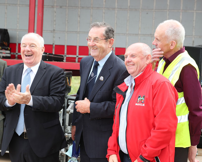 Minister Michael Ring pictured with  Paddy Joe Foy President  ISA Western Region and Michael McGrath, Treasurer Claremorris Agricultural Show singing Happy Birthday To Cllr Patsy O'Brien at Claremorris 101st Agricultural Show 2019. Photo © Michael Donnelly
