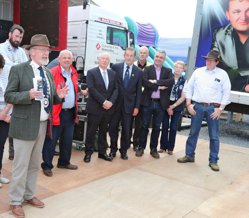 David Sheehan, National President Irish Shows Association speaking at the official opening  of the Claremorris 101st Agricultural Show 2019, Included are Patrick Broderick, President Claremorris Chamber of Commerce, Cllr Patsy O'Brien, Minister Michael Ring, PJ Foy, President ISA Western Region; Michael McGrath, Show Treasurer; Deputy Dara Callerary; Ann O'Malley Secretary ISA Western Region, and Tom Byrne, Chairman Claremorris  Agricultural Show. Photo © Michael Donnelly