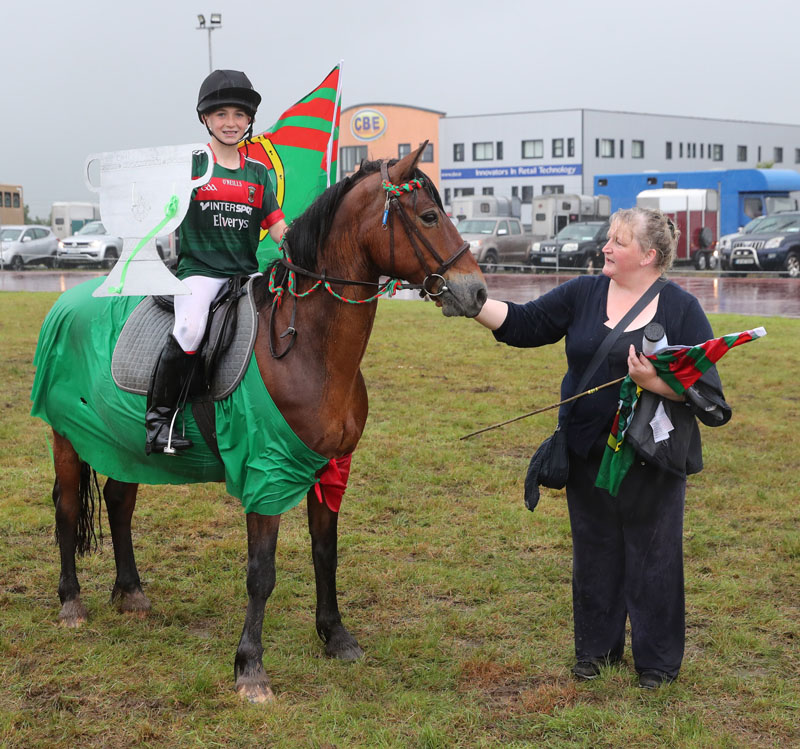 "Taking 2nd place in the ""Fancy Dress"" Pony competition was Ethan Higgins, Claremorris on ""Rio"", owned by Joan Fallon, Upper Mace Equestrian Centre Claremorris, pictured with Pauline Higgins, at Claremorris 101st Agricultural Show 2019. Photo © Michael Donnelly"