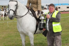 "Petra Hewer, Westport with her ""Best Non Thoroughbred Brood Mare"" likely to produce a Sports Horse is presented with the ""James Prendergast Memorial Cup by Pat Prendergast, (sponsored by Pat and Pauline Prendergast) at Claremorris 101st Agricultural Show 2019. Photo © Michael Donnelly"