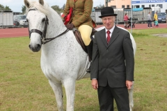 Amy Duggan Crossgar Co Galway winner in Class31  Ridden Connemara Pony 4 yrs and over (U-16 rider) Sponsored by Henry Prendergast Accountants pictured with Tony Ennis (judge) at Claremorris 101st Agricultural Show 2019. Photo © Michael Donnelly