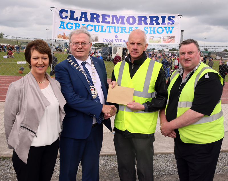 Cllr Richard Finn, Cathaoirleach Mayo Co presenting sponsorship to Michael McGrath, Treasurer Claremorris Agricultural Show 2017 pictured with Maureen Finnerty, Show Secretary  and Cllr Tom Connolly. Photo: © Michael Donnelly
