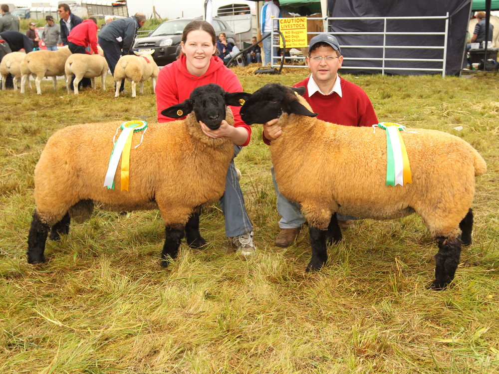 Michael Jennings, Hollymount won the Champion Suffolk and Reserve Champion Suffolk at 94th Claremorris Agricultural Show, shown by Marie Jennings and Declan Mangan. Photo © Michael Donnelly Photography