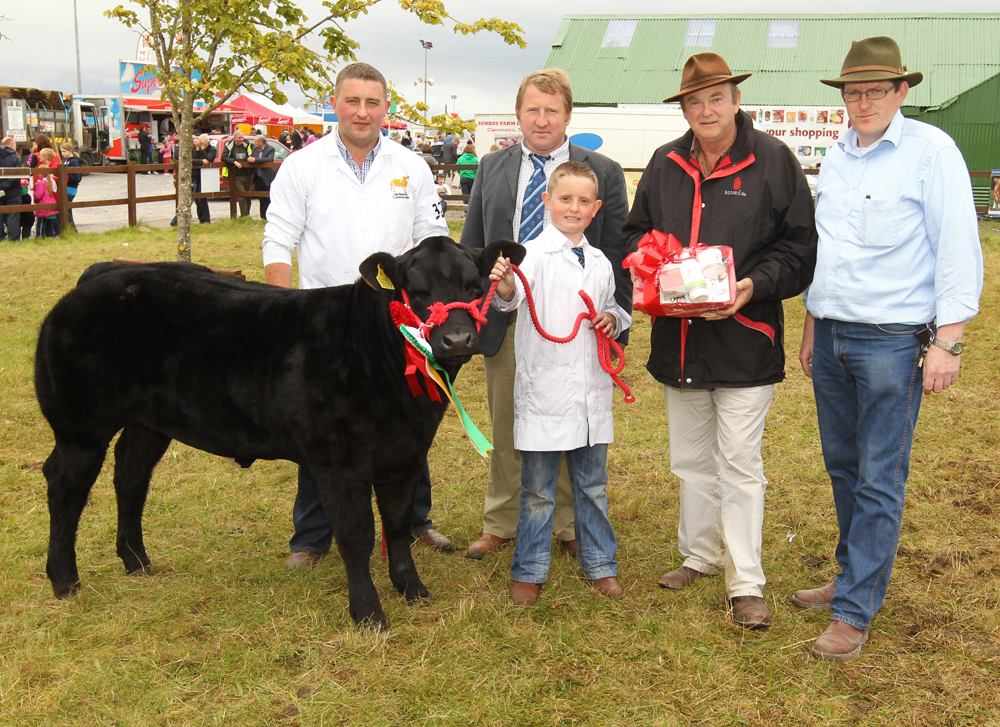 Pearse McNamee, Convoy, Co Donegal  (on left) won the Champion Commercial of the 94th Claremorris Agricultural Show, (Sponsored by Paul Hunt, Hillside Filling Station) Shown by Luke Barnett, included in photo are Leo McEnroe, (Judge); Sean Cooney of Botanica, (Natures Healing Energy) presenting Hamper  and Tom Byrne, Chairman Claremorris Agricultural Show. Photo: © Michael Donnelly Photography