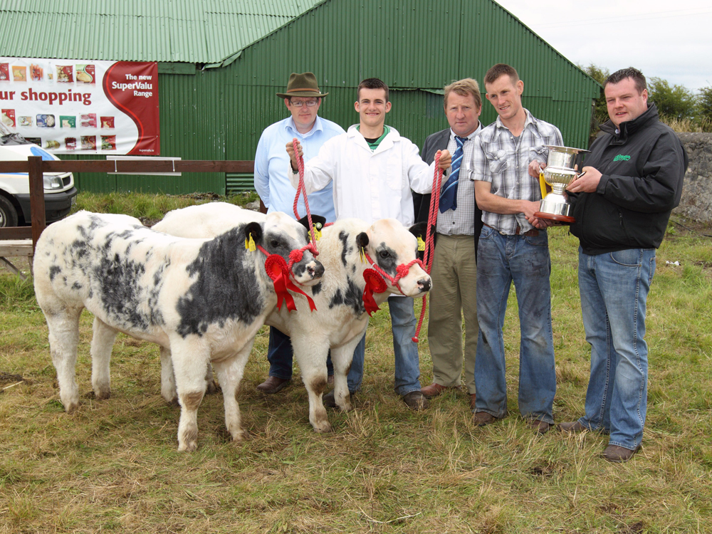 "The Maxwell Brothers, Frenchpark pictured with ""Best Pair of Non Pedigree Cattle"" (sponsored by Hubert Maxwell, Livestock Exporters Roscommon) at 94th Claremorris Agricultural Show, included in photo from left: Tom Byrne, Show Chairman; Mark Maxwell; Leo McEnroe, (Judge); Derek Maxwell who is presented with the Martin Dyer Memorial Cup by Brian Dyer.  Photo: © Michael Donnelly Photography"
