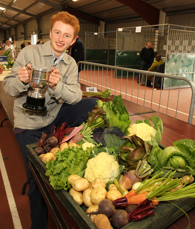 "Desmond McLoughlin, Ballyfarna, Claremorris won the ""Best Collection of Vegetables "" at the 94th Claremorris Agricultural Show, pictured with the Michael Nevin Cup. Photo: © Michael Donnelly Photography"