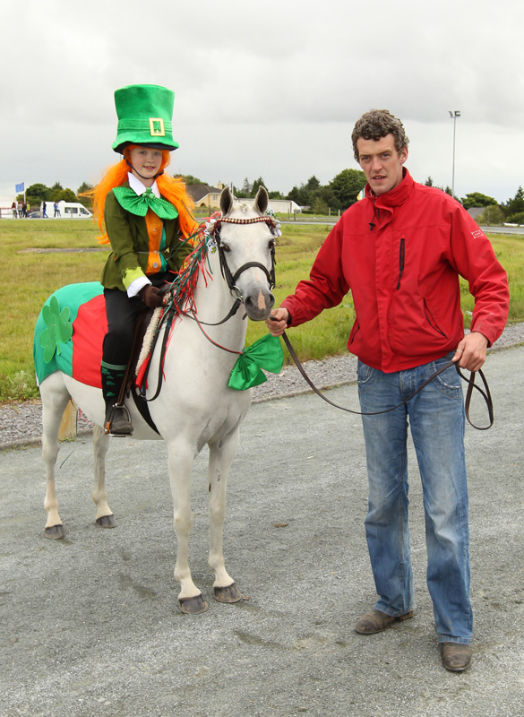 Cliona Quinn Foxford  taking part in the Lead Rein Pony Fancy Dress at the 94th Claremorris Agricultural Show with her uncle Stephen  Niland, Balla . Photo: © Michael Donnelly Photography