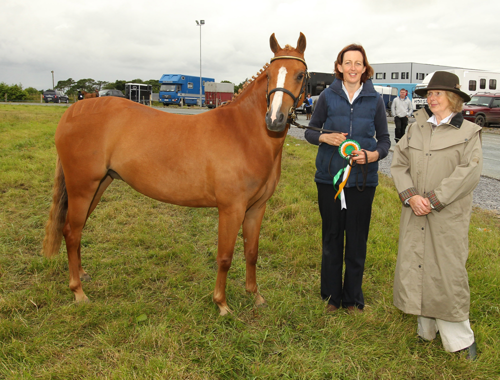"Jane Hennigan, Claremorris pictured with the ReserveChampion in Hand"" pony of  the 94th Claremorris Agricultural Show include in photo are  Pat Byrne, Ballymoreustace Co Kildare (Judge). Photo: © Michael Donnelly"