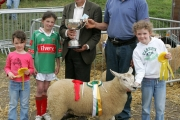 Patsy Reilly (Judge) presents the David Delaney perpetual cup for Champion Commercial Sheep of Show to Walter Brennan, Mayo Abbey, Included in photo from left; Aoife Brennan, Brenda Finlay, Patsy Reilly, Walter Brennan and Laura Brennan. Photo: © Michael Donnelly