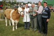 Martin Feeney, Ballygawley, Co Sligo is presented with the Parish Cup by PJ Timlin (steward) Michael Fox, Tullamore, (judge) and Colm Kitching (steward) at the 88th Claremorris Agricultural Show for best Continental X heifer to breed a Continental Calf, (Class 73).   Photo: © Michael Donnelly
